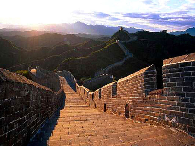 great wall at dusk
