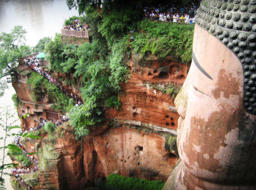 The profile of the Leshan Giant Buddha.