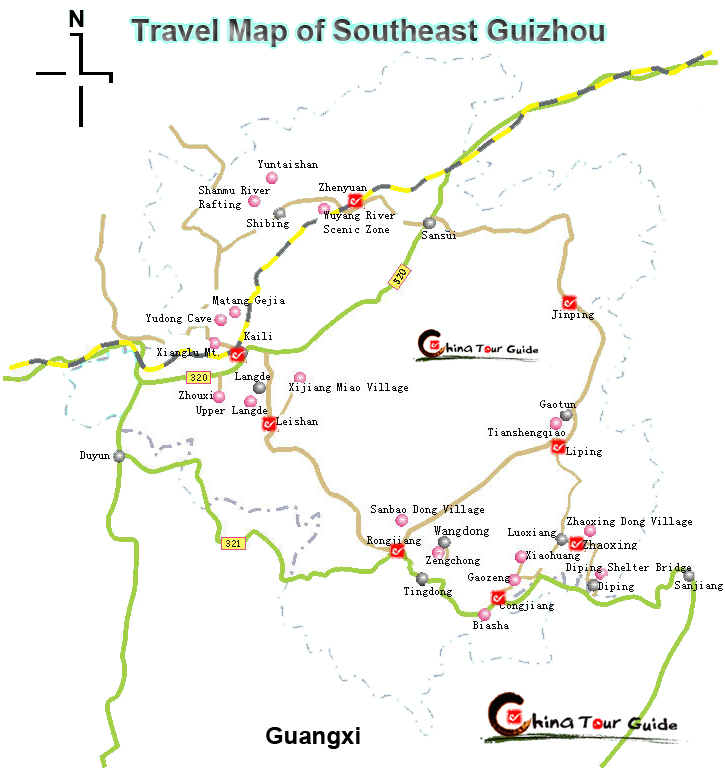 southeast guizhou travel map