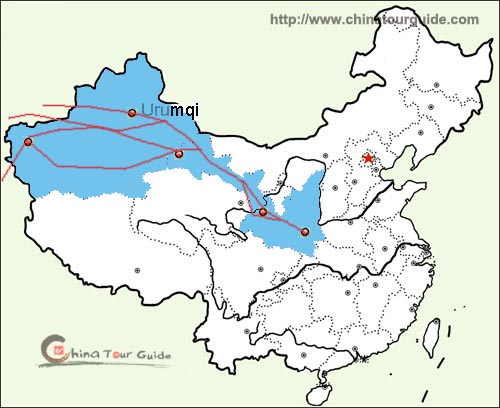 China On Map Of Asia.Silk Road Maps China Silk Road Map Shaanxi Map Gansu Map