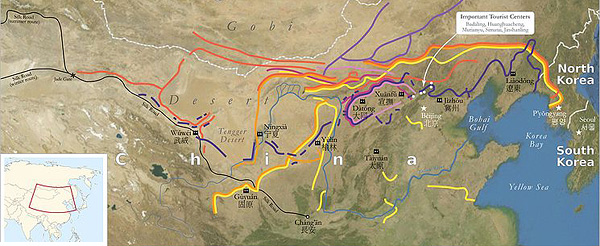 Great Wall Of China Map View.China Great Wall Introduction Facts Photos Chinatourguide Com