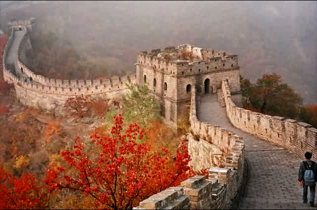 A outlook of Mutianyu Great Wall in late fall