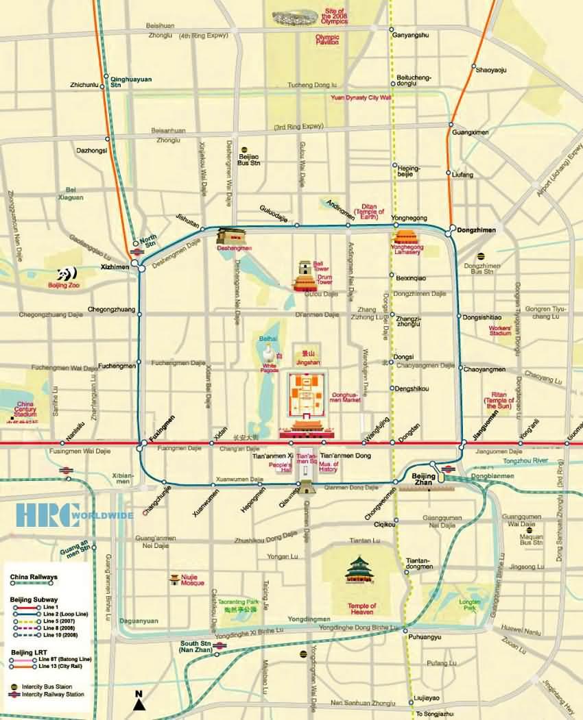 Beijing City Subway Map.Beijing Maps City Map Subway Map Forbidden City Map Beijing