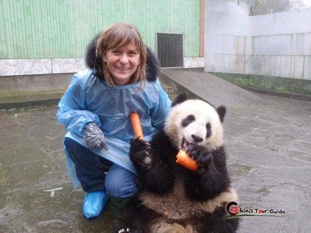 Take photo with lovely panda