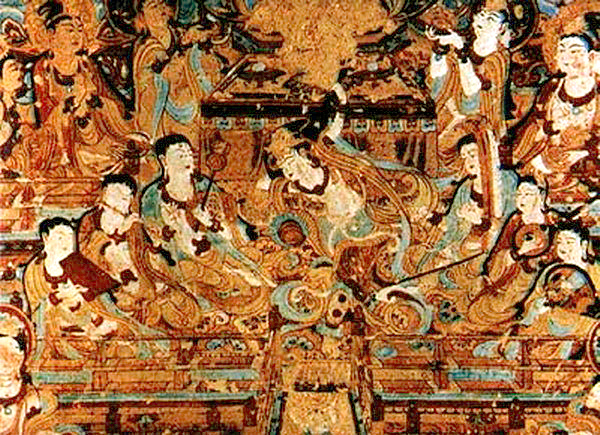 Mogao grottoes mogao caves dunhuang art silk road tour for Mural de chine