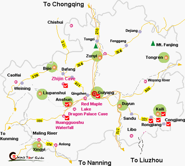 Guizhou Tourist Map