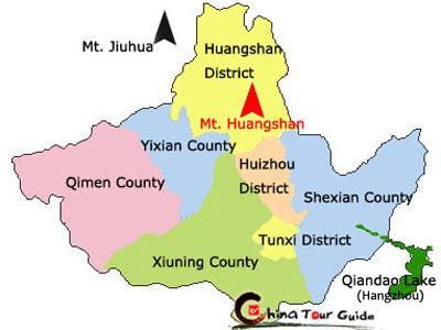 Image result for map of huangshan