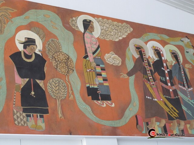 Painted murals in Lhasa Airport