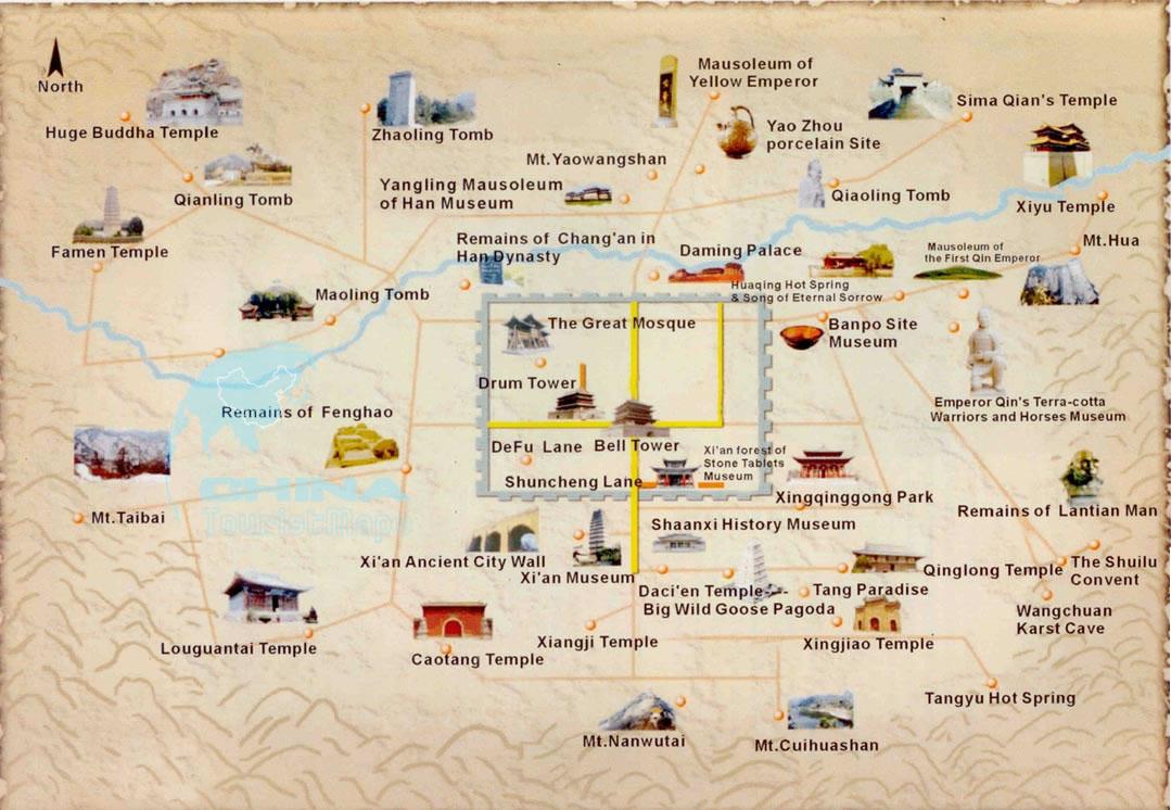 Xian Maps Maps Of Xian From Chinatourguide